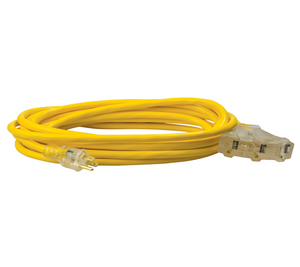 12/3 SJTW 25' TRI-SOURCE YELLOW EXTENSION CORD WITH LIGHTED ENDS