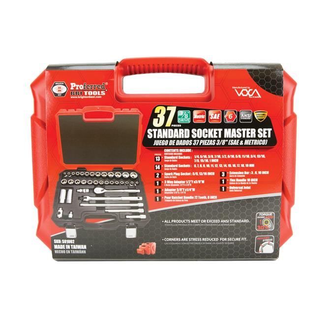 "PROFERRED S01002 - 3/8"" DRIVE 37 PIECE SAE AND METRIC SOCKET MASTER SET"