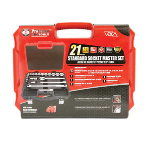 "PROFERRED S01003 1/2"" DRIVE 21 PIECE SAE SOCKET MASTER SET"