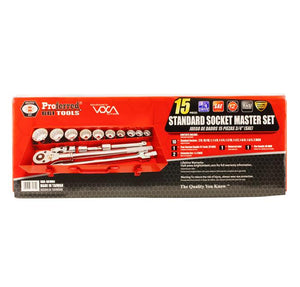 "PROFERRED S01004 - 3/4"" DRIVE 15 PIECE SAE SOCKET MASTER SET"