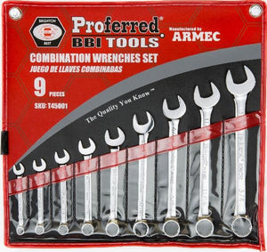 "PROFERRED T45001 - 9 PIECE (1/4""-3/4"") COMBINATION WRENCH SET"