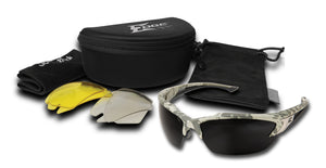 EDGE EYEWEAR KHOR - TSDK21DC - CAMOUFLAGE FRAME KIT - POLARIZED SMOKE, ANTI-REFLECTIVE, YELLOW LENS