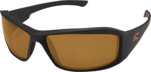 EDGE EYEWEAR BRAZEAU TORQUE - TXB235 - MATTE BLACK FRAME WITH RED E LOGO / POLARIZED COPPER LENSES
