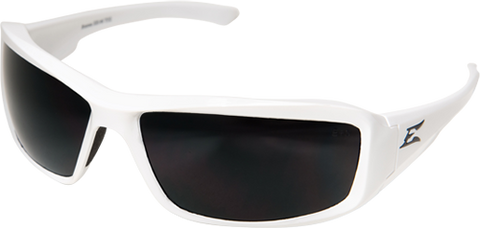 "EDGE EYEWEAR BRAZEAU TORQUE - TXB246 - WHITE FRAME - POLARIZED SMOKE LENS - CUSTOMIZABLE ""E"""