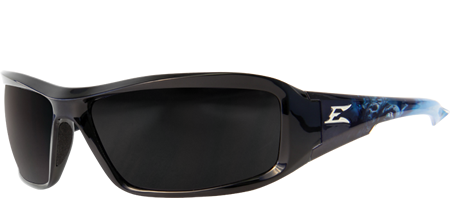 EDGE EYEWEAR BRAZEAU APOCALYPSE 2 - TXB216-A2 - BLACK AND BLUE WARRIOR FRAME - POLARIZED SMOKED LENS