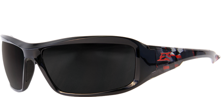 EDGE EYEWEAR BRAZEAU VELOCITY 1 - TXB216-C1 - BLACK & RED CHECKERED FLAG FRAME - POLARIZED SMOKE LENS