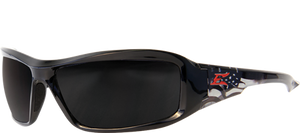 EDGE EYEWEAR BRAZEAU PATRIOT 1 - TXB216-P1 - BLACK & AMERICAN FLAG FRAME - POLARIZED SMOKE LENS