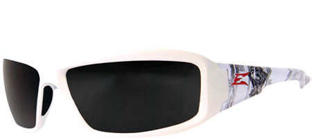 EDGE EYEWEAR BRAZEAU VELOCITY 2 - TXB246-C2 - WHITE & BLACK MOTORCYCLE ENGINE FRAME - POLARIZED SMOKED LENS