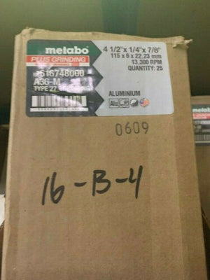 "Metabo Plus Grinding 4 1/2"" x 1/4"" x 7/8"", Type 27, A36M (US616748000) 25PCS"