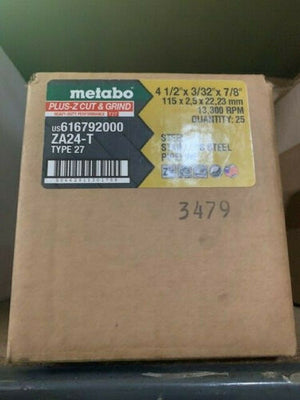 "Metabo 616792000 - 4.5"" x 1/8"" x 7/8"" Type 27 Pipeline Wheel ZA24T - 25PCS"