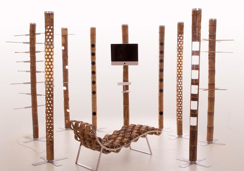 Tarazi's full collection of bamboo furniture for the exhibit