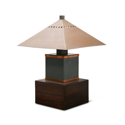 1930's Copper and Mahogany Table Lamp