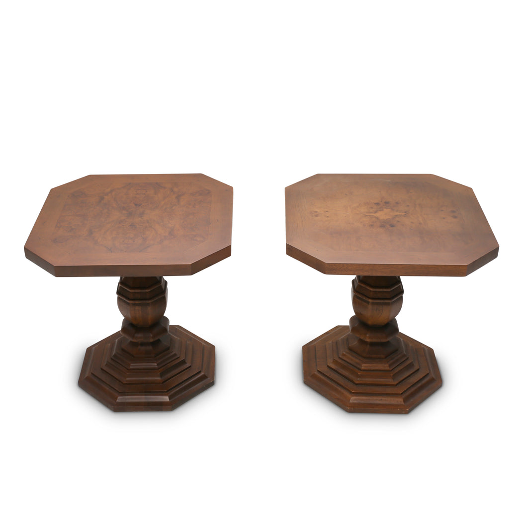 Gueridon Inlaid Walnut End Tables by Drexel