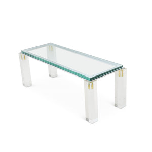 Polished Nickel and Lucite Coffee Table by Charles Hollis Jones