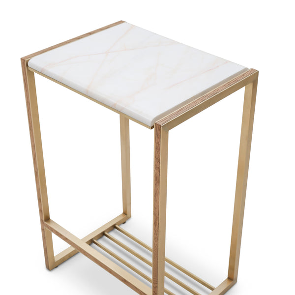 Pink Marble & Inlaid Brass High Accent Table