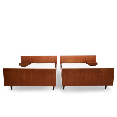 Twin Scandinavian Mid-Century Teak Beds (Pair)