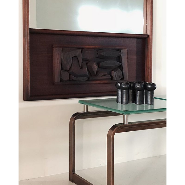 Contemporary Copper and Frosted Glass Table/Bench
