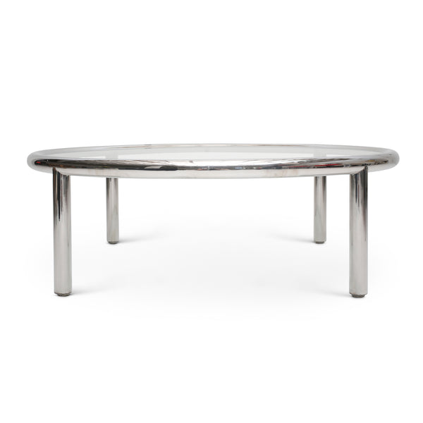 Round Chrome Inset Glass Coffee Table