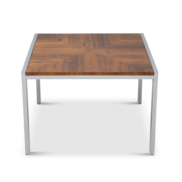 Bookmatched Rosewood and Chrome Table
