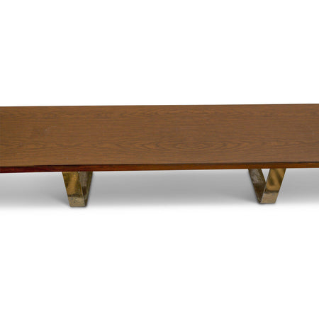 11' Long Bench with Brass Legs