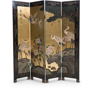 Chinese Gold Leaf Four Panel Coromandel Screen Room Divider