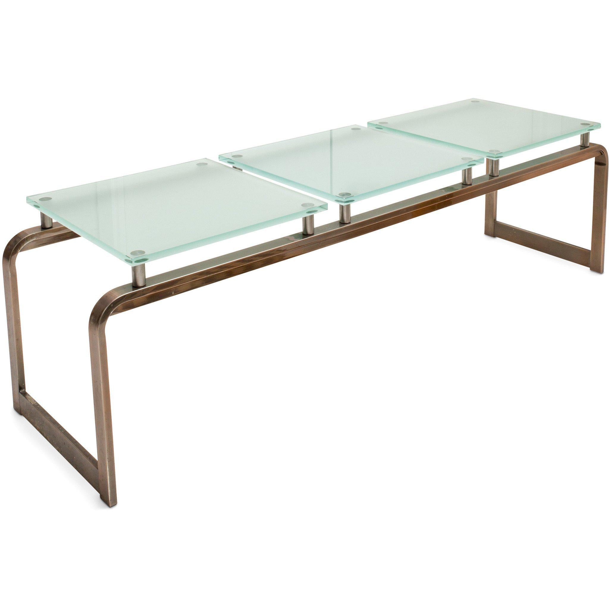 Contemporary Copper and Frosted Glass Table