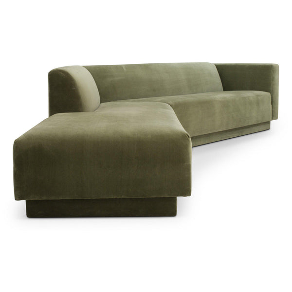Custom Green Velvet 2 Piece Sectional