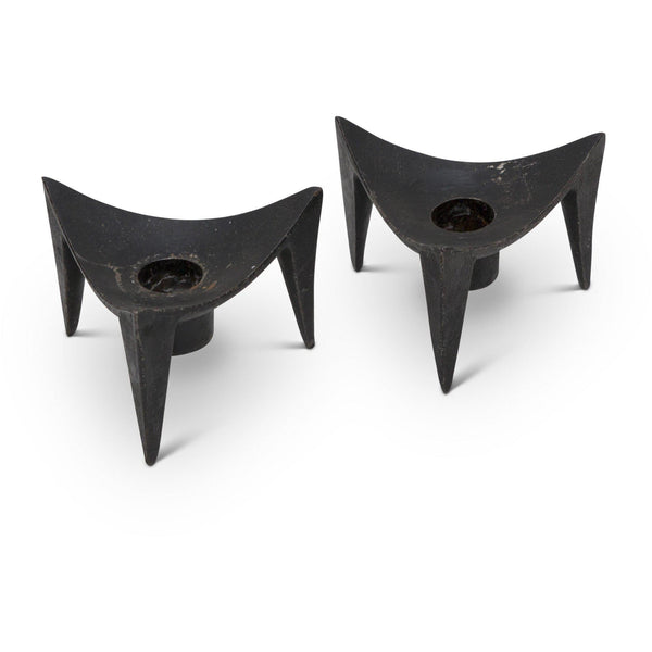 "Dansk Cast Iron Candle Holder - ""Triangle"" (Pair)"
