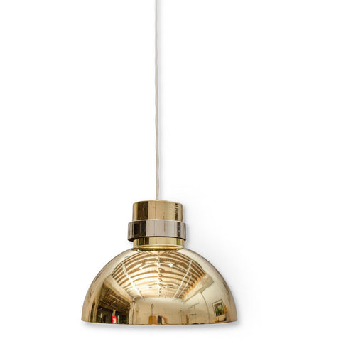 Lightolier Brass Dome Pendant with Chrome Collar