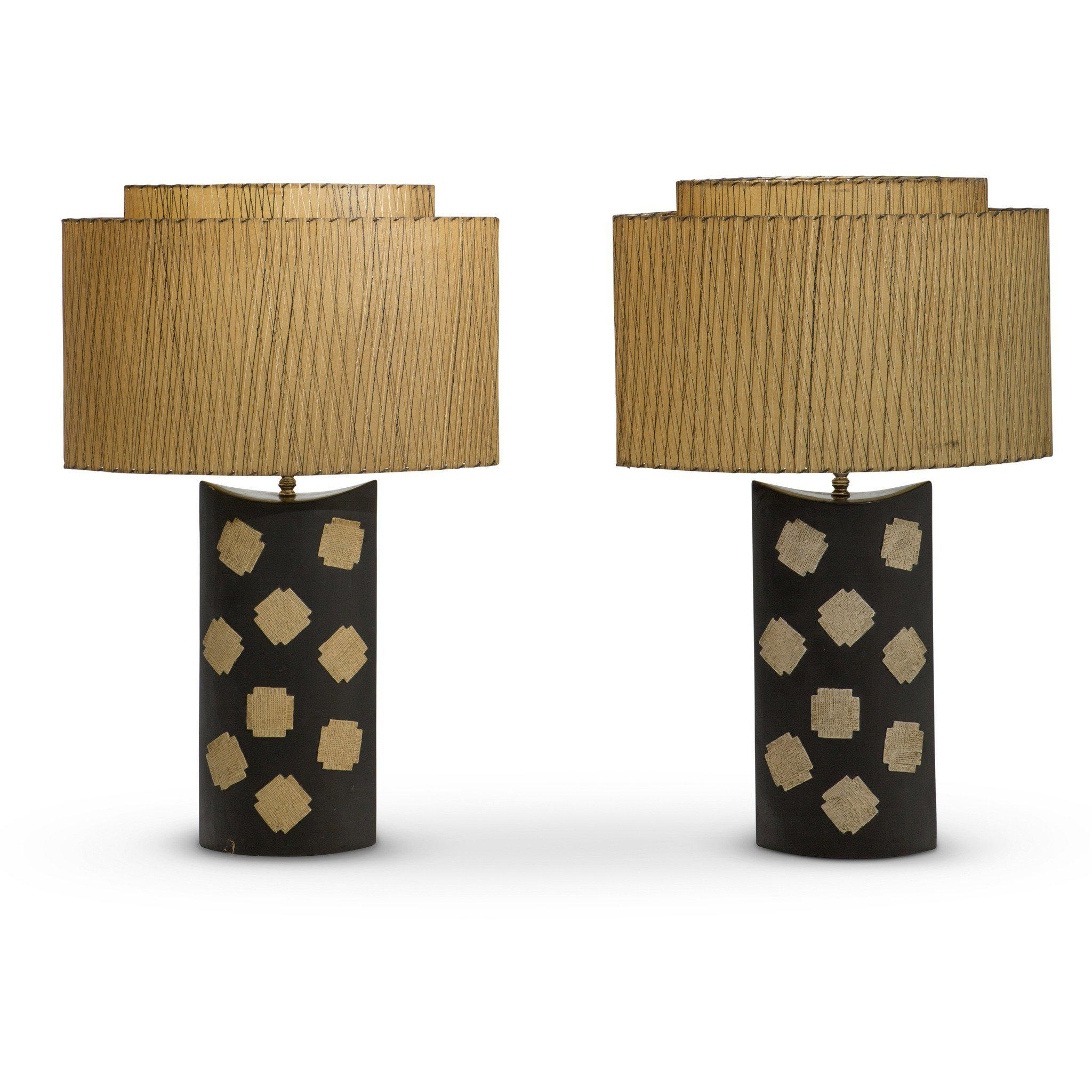 "Oversized Vintage Ceramic Table Lamps Marked ""LL"" (Pair)"