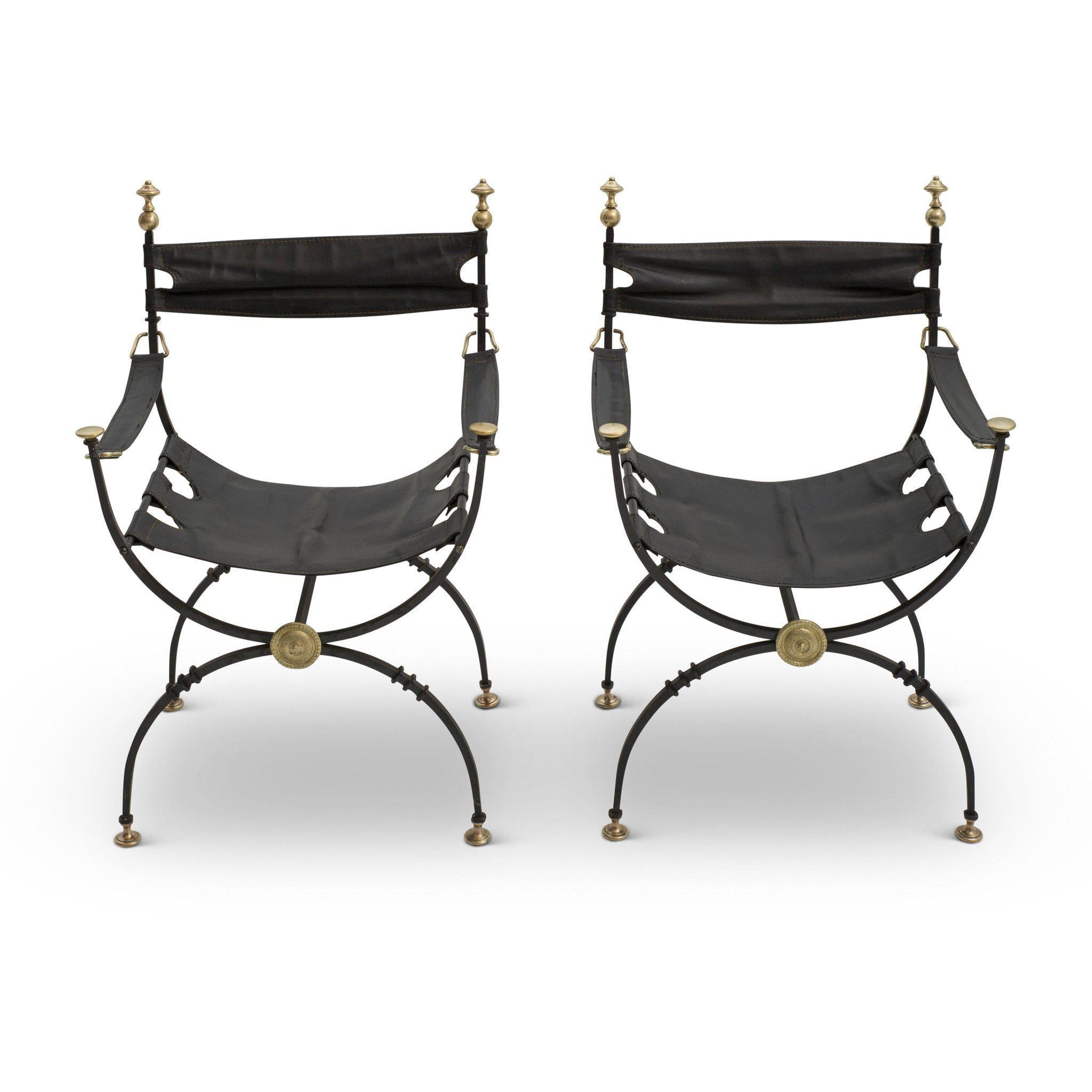 Pair of 1931 Iron and Leather Savonarola Chairs