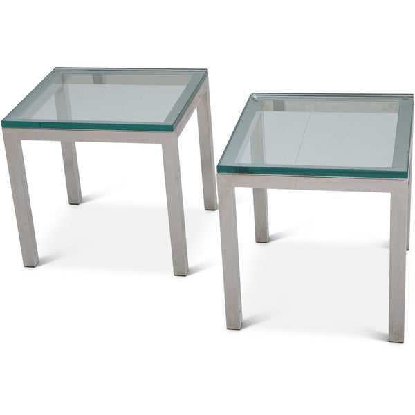 Pair of Vintage Milo Baughman Style Chrome Side Tables