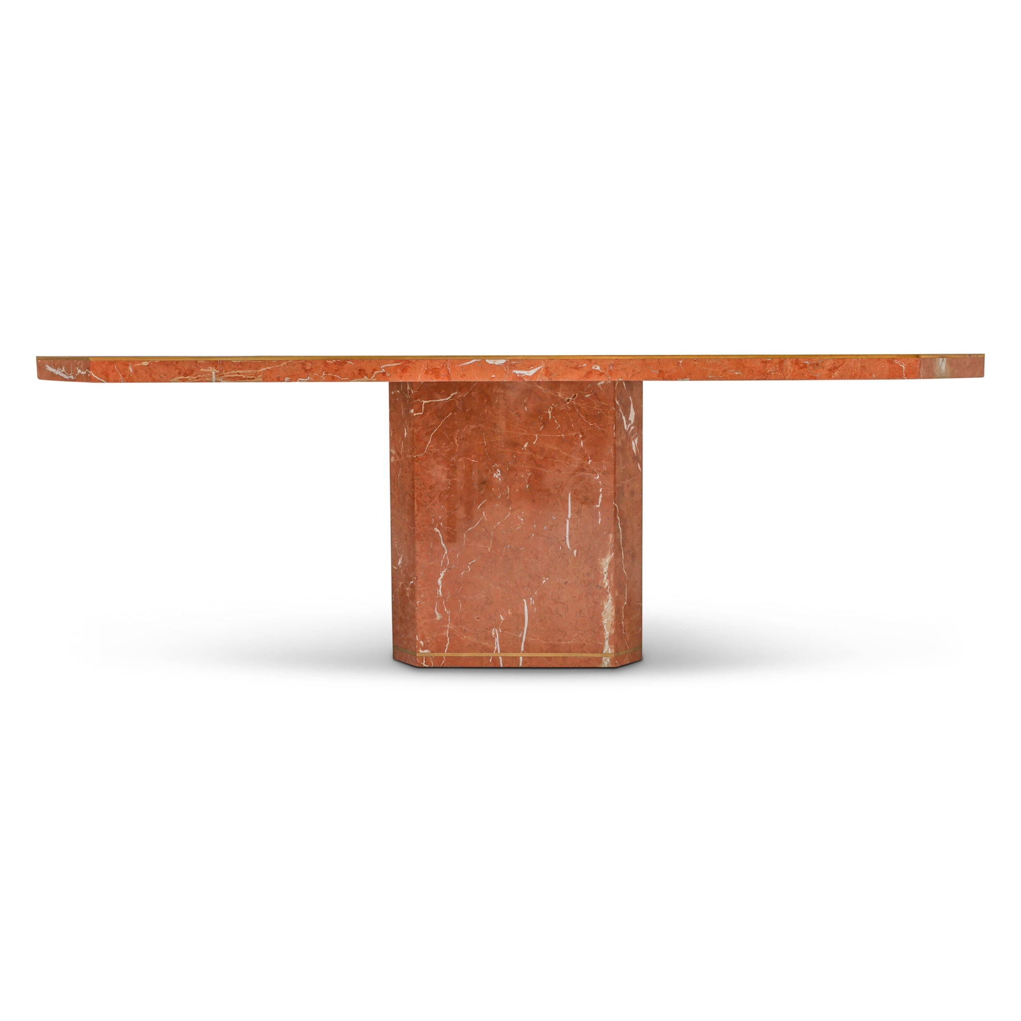 Vintage Rojo Alicante Marble and Inlaid Bronze Dining Table