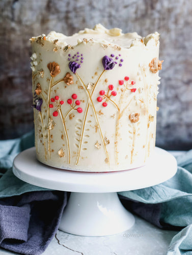 Hands-on Passion Fruit Low-Sugar Buttercream Cake with Hand-Painted Flowers
