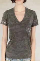 Ditch Plains Washed Black V-Neck Tee-Shirt
