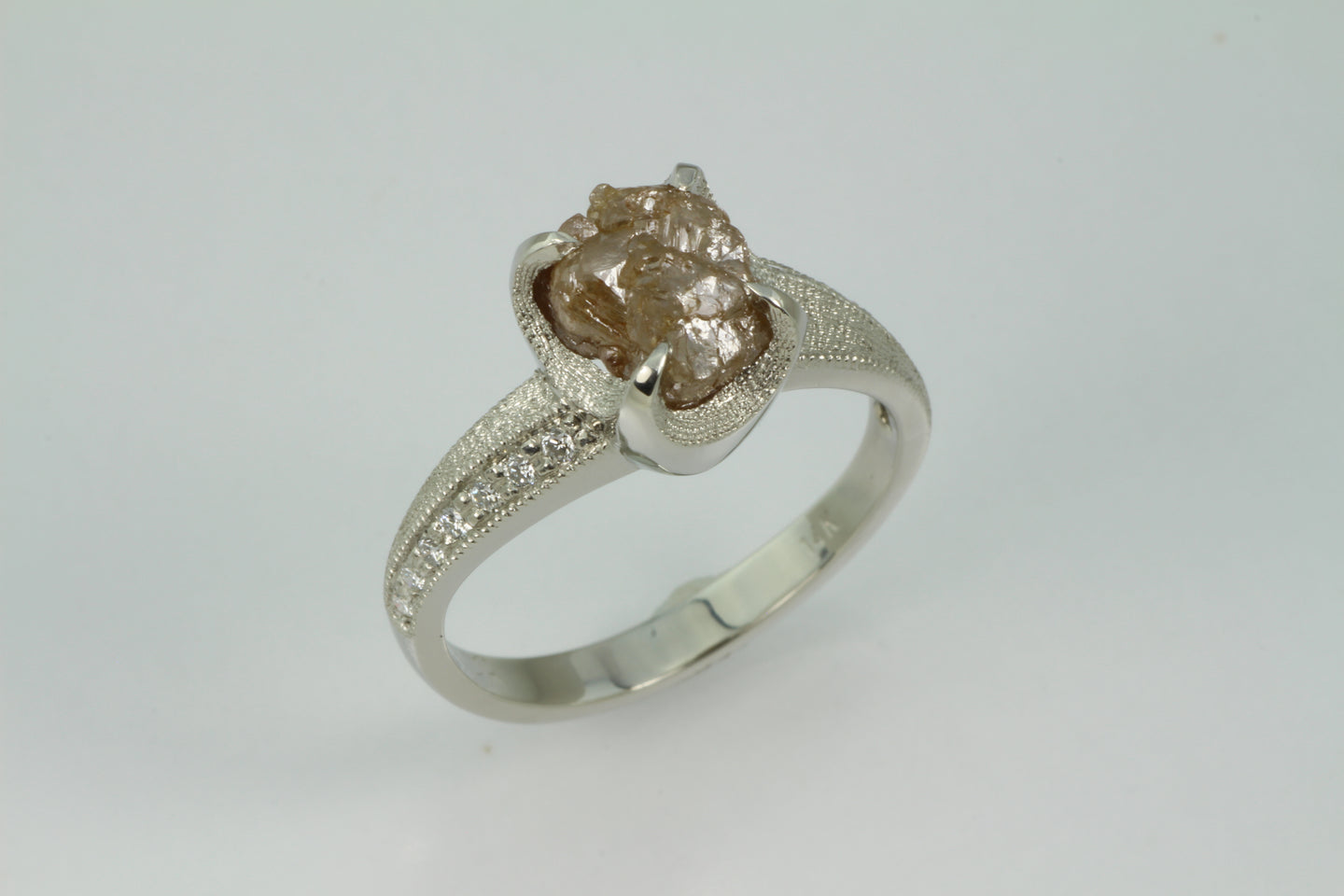 Natural colored diamond crystal and cut diamond engagement ring