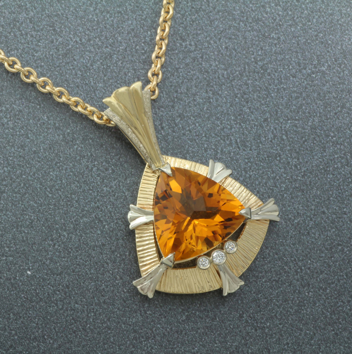 Triangle Citrine Pendant