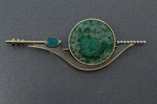 14k Two Tone Broach set with Chrysocolla/Malachite, Gem Crysacolla and Diamonds