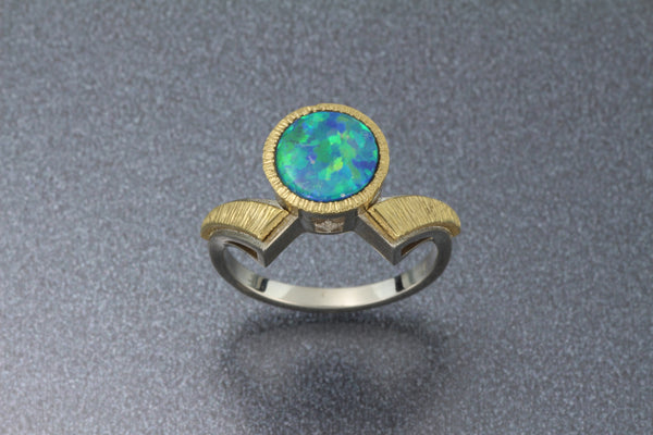 Blue Flash Rd Opal Ring