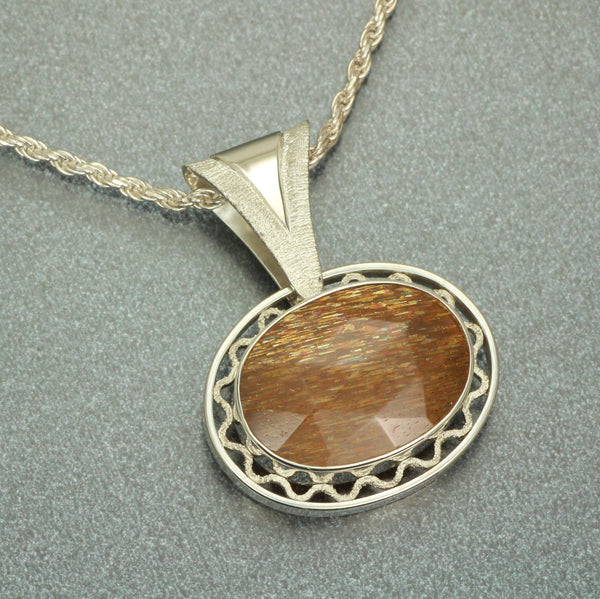 Gold Moonstone one-of-a-kind sterling pendant