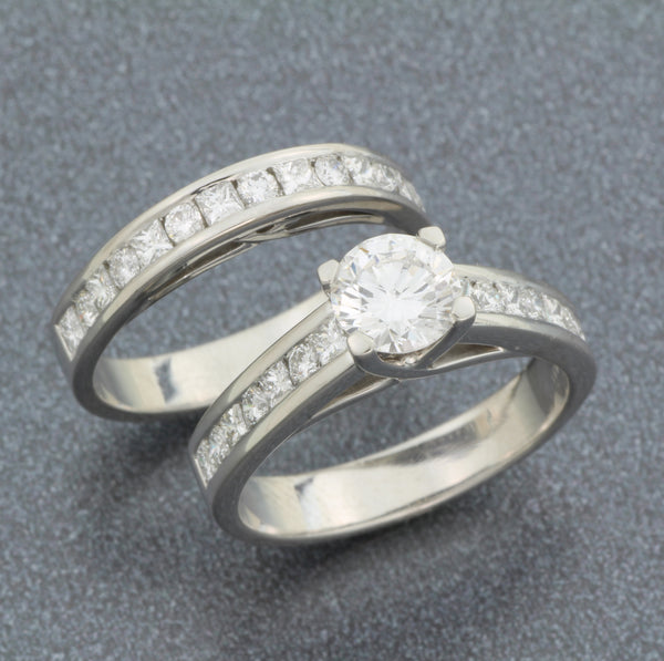 Platinum wedding set with round and princess cut diamonds