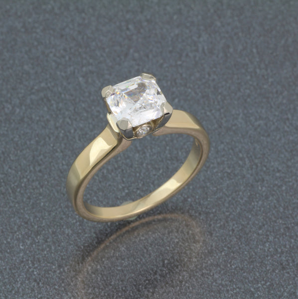 14k yellow TT ring with princess cut CZ