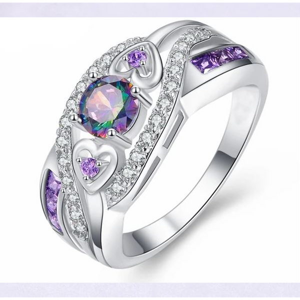 Oval Heart Design Purple Crystal Ring (Ships from USA)