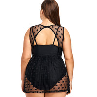 Plus Size One Piece Swimwear Polka Dot Vintage