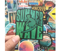 100 PCS STICKERS surf, van, nomad, travel summer waves surfboards