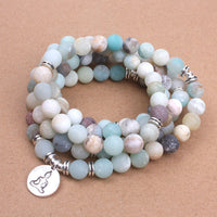 Frosted Amazonite beads with Lotus Bracelet