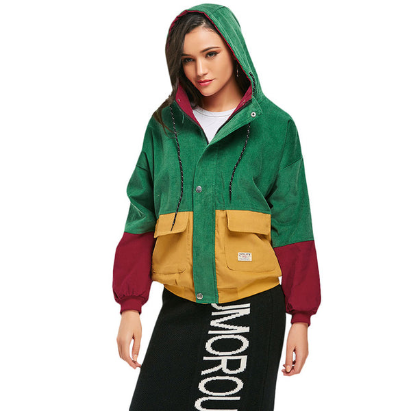 Winter Color Block Hooded Jacket