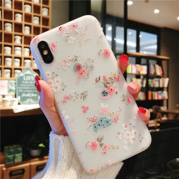 3D Relief Floral Phone Case For iPhone 6s 7 XS Max  iPhone 7 8 Plus XS XR