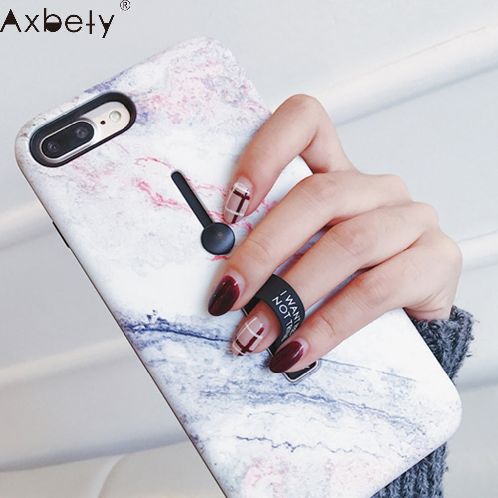 Marble silicon Ring Phone Cases iphone 6s 6 XS MAX/XR 7 8 Plus Stand Holder Cover