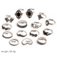 Set of 15 pieces Bohemian Gem Silver Ring